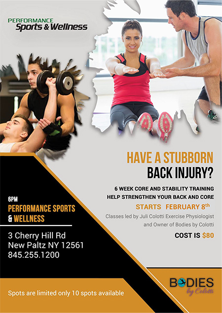 Have a Stubborn Back Injury? 6 Week Core and Stability Training Help Strengthen Your Back and Core. Starts February 8th.